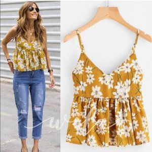 💛Yellow Floral Babydoll Top